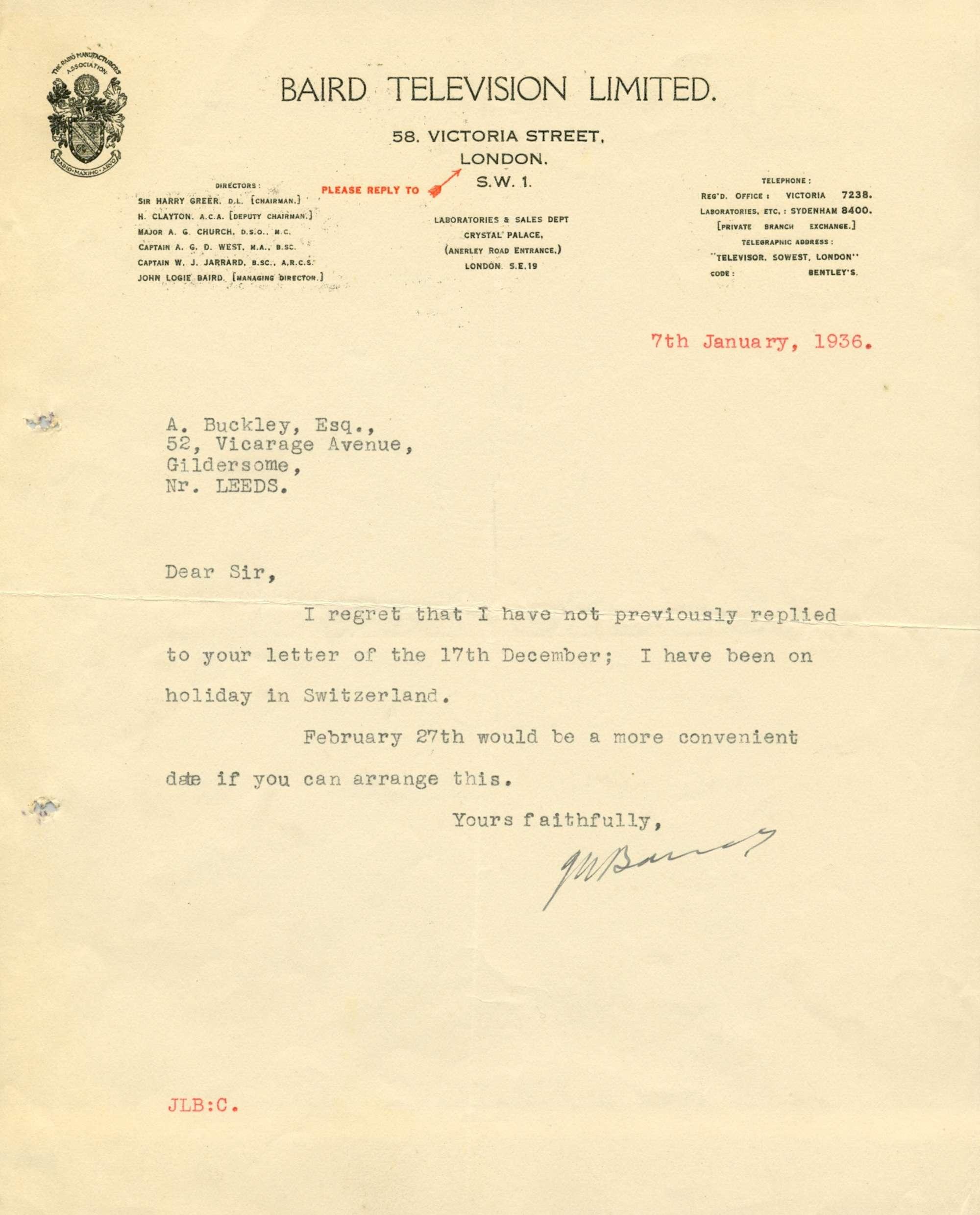 273   BAIRD JOHN LOGIE: (1888-1946) Scottish Engineer  Inven