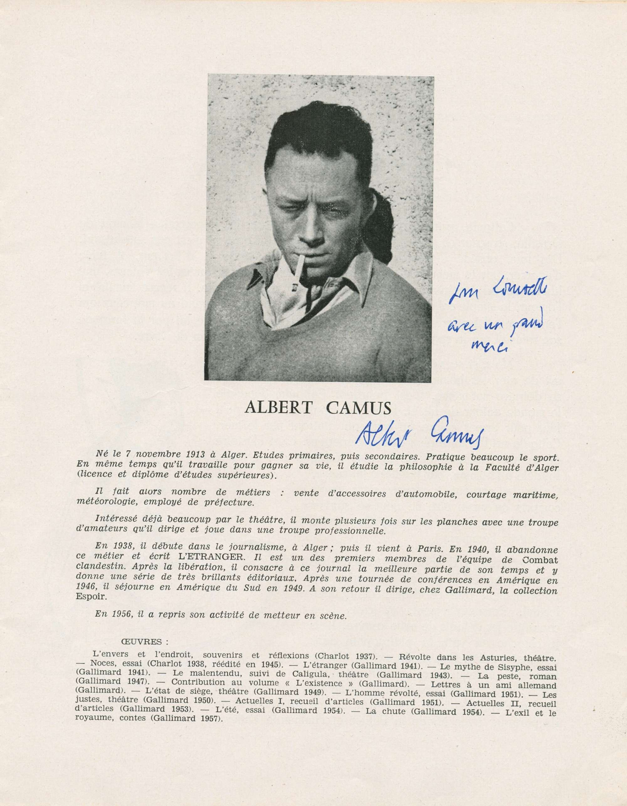 Nobel Prize Winner In Literature 1957 Signed And Inscribed 4to Page Angers Being An Inside Of The VI Festival Dramatic Art Official